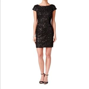 ADRIANNA PAPELL Black Sequin-beaded Cocktail Dress